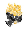 popcorn food with filmstrips and short film vector image vector image