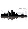 santiago city skyline black and white silhouette vector image vector image