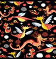 seamless pattern bright funny dragon vector image