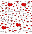 seamless pattern with hearts background vector image vector image