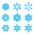 set-of-blue-snowflakes-on-white vector image vector image