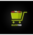 Shopping cart with healthy food design background vector image