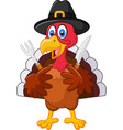 thanksgiving turkey mascot holding knife and fork vector image vector image