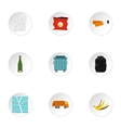 Types of waste icons set flat style vector image