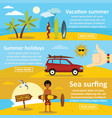 vacation summer banner horizontal set flat style vector image vector image