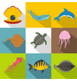 water wildlife icon set flat style vector image vector image