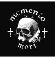 white skull on black background in grunge vector image