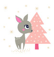 winter background with reindeer vector image