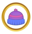 Winter knitted hat with pompon icon vector image vector image