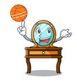with basketball dressing table character cartoon vector image