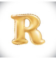 balloon letter r realistic 3d isolated gold vector image