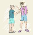 two people stand and are ready to shake hands vector image