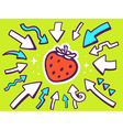 arrows point to icon of red strawberry o vector image