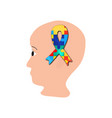 a ribbon of puzzles in the brain head world vector image