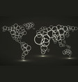 abstract world map of glowing circles vector image vector image