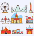 amusement park flat elements isolated vector image