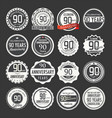 anniversary retro labels 90 years collection 1 vector image vector image