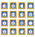 apple logo icons set blue square vector image vector image