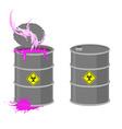 Barrel with Biohazard Grey barrel with pink vector image