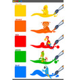basic colors set with cartoon birds vector image vector image