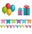 birthday icons decoration with white background vector image vector image