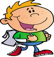 blond school boy walking to school vector image