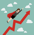 Business woman super hero with growing graph vector image vector image