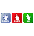 buttons - click here register and login vector image
