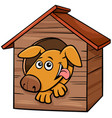 cartoon dog animal character in doghouse vector image vector image