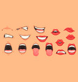 cartoon mouth set vector image vector image