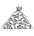 cartoon pile or heap human skulls skull of vector image