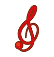 Cartoon treble clef musical paper icon
