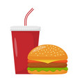 cheeseburger and soda isolated on white vector image