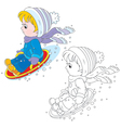 Child on an ice-boat vector image vector image