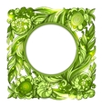circle frame with nature floral green ornament vector image vector image