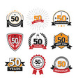collection retro 50 th years anniversary logo vector image vector image