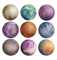 colorful set of watercolor planets isolated vector image