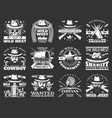 cowboys skulls and sheriffs with hats wild west vector image vector image