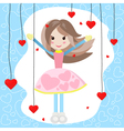 Cute girl with many red hearts vector image vector image