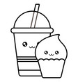 delicious cupcake and drink in plastic kawaii vector image