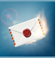 envelope with wax seal on fire vector image vector image