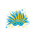 festive mask with blue and yellow feathers vector image