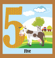 flat animal numbers 5 vector image vector image