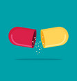 flat open capsule pill isolated on color vector image