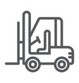 forklift line icon automobile and cargo truck vector image