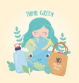 girl world bottle and shopping bag nature vector image vector image