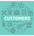 green line flat circle customers vector image vector image