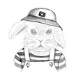 hand drawn portrait rabbit with accessories vector image