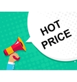Hand holding megaphone with HOT PRICE announcement vector image vector image