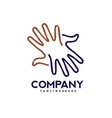 hands lines care logo togetherness concept logo vector image vector image